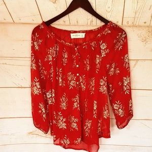 Abercrombie Red Sheer Blouse Small